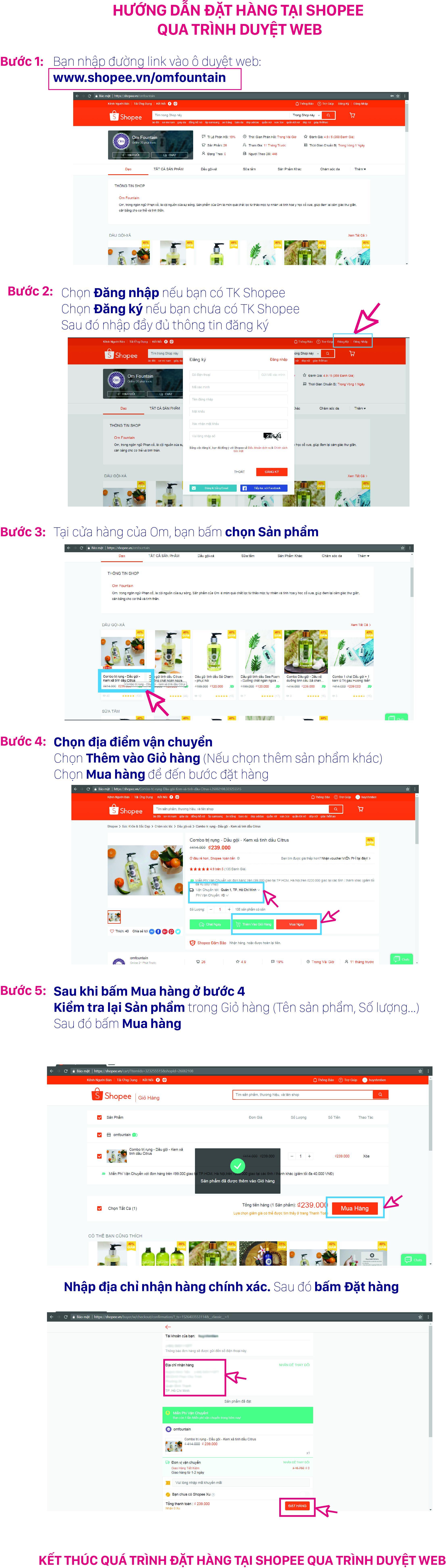 Hướng dẫn đặt hàng tại Shopee qua trình duyệt WEB